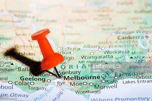 melbourne pin horiz - melbourne australia stock photos and pictures