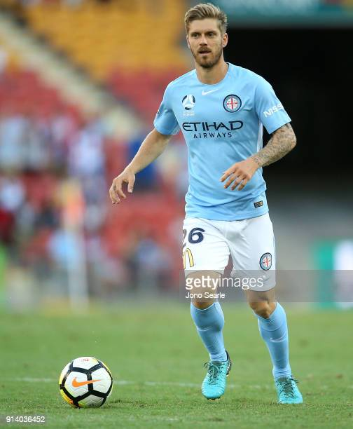 Melbourne player Luke Brattan controls the ball during the round 19 ALeague match between the Brisbane Roar and Melbourne City at Suncorp Stadium on...