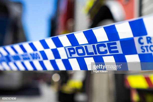 melbourne police tape - cordon tape stock pictures, royalty-free photos & images