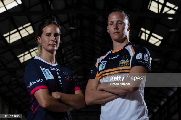 Melbourne Rebels Meretiana Robinson and ACT Brumbies Michelle Milward pose during the Super Rugby Super W Season Launch at Carriageworks on February...