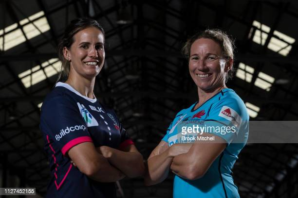 Melbourne Rebels Meretiana Robinson and the Waratahs Ashleigh Hewson pose during the Super Rugby Super W Season Launch at Carriageworks on February...