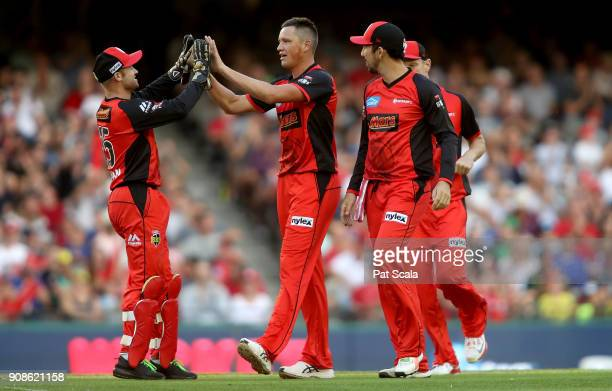 Melbourne Renegades Chris Tremain celebrates dismissing Strikers Jake Weatherald during the Big Bash League match between the Melbourne Renegades and...