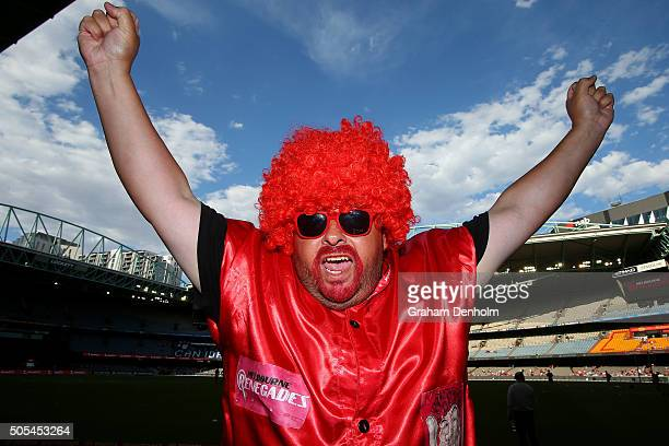 Melbourne Renegades fan shows his support prior to the Big Bash League match between the Melbourne Renegades and the Adelaide Strikers at Etihad...