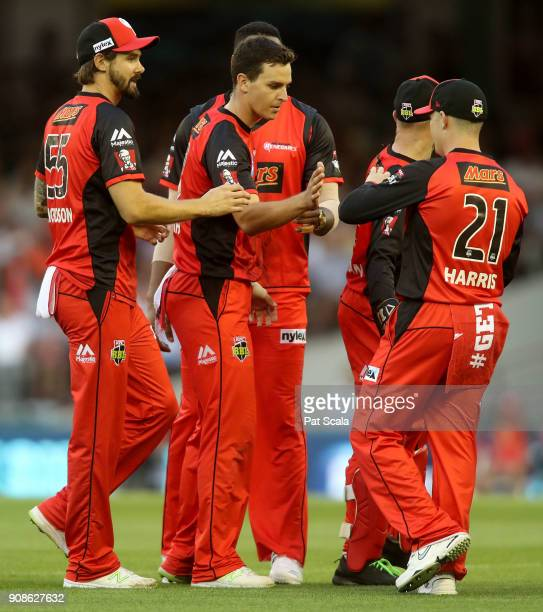 Melbourne Renegades Jack Wildermuth celebrates dismissing Strikers Alex Carey during the Big Bash League match between the Melbourne Renegades and...