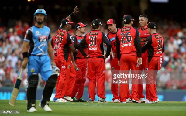 Melbourne Renegades players celebrate dismissing Strikers Jake Weatherald during the Big Bash League match between the Melbourne Renegades and the...