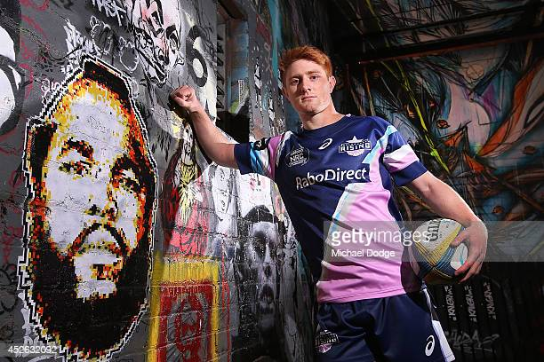 Melbourne Rising player Nic Stirzaker poses during the launch of the Melbourne Rising inaugural National Rugby Championship season at Blender Lane on...