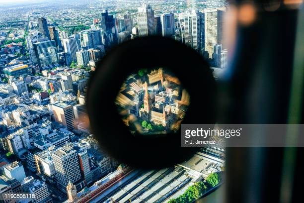 melbourne seen from tourist prism - zoom in stock pictures, royalty-free photos & images