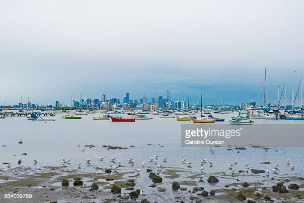 Melbourne skyline and boats from Williamstown