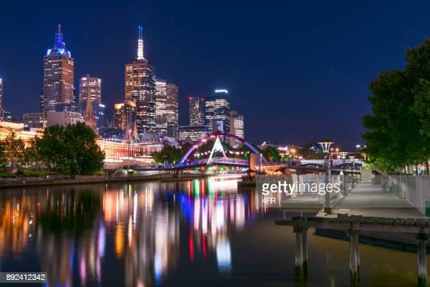 Melbourne Skyline at Night, Yarra River, Southbank, Australia