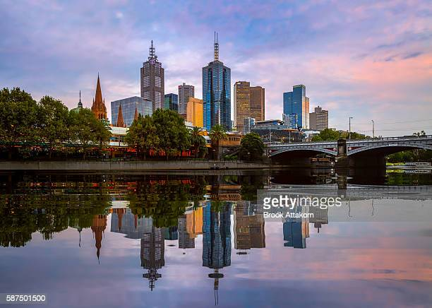 Melbourne skyline at sunset.