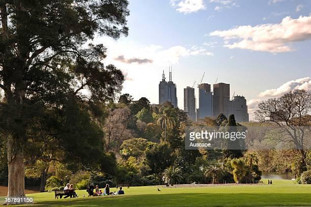 Melbourne skyline from Royal Botanic Gardens Melbourne Victoria Australia