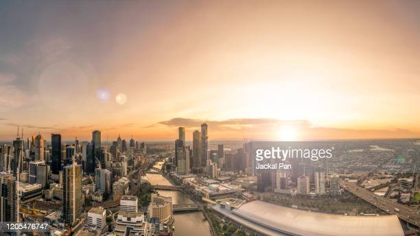 melbourne skyline - moody sky stock pictures, royalty-free photos & images