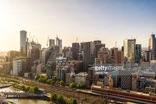 melbourne skyline - melbourne australien bildbanksfoton och bilder