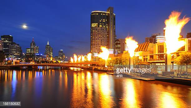 Melbourne Skyline with Full Moon and Fire Show (XXXL)