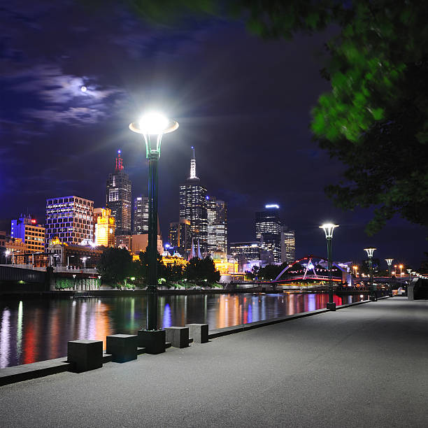 Melbourne Skyline with Yarra River at Full Moon (XXL)