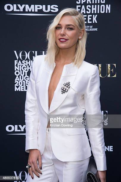 Melbourne Spring Fashion Week Ambassador Ashley Hart arrives for the Vogue Fashion's Night Out on August 28 2015 in Melbourne Australia