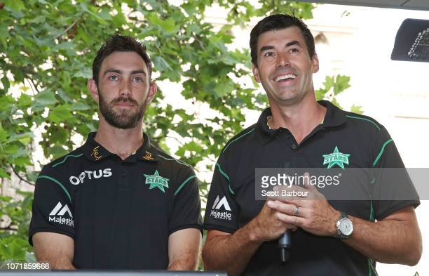Melbourne Stars captain Glenn Maxwell and head coach Stephen Fleming speak on stage during the Melbourne Stars BBL Launch on December 12, 2018 in...