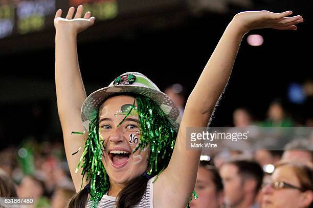 Melbourne Stars fan celebrates a wicket during the Big Bash League match between the Melbourne Stars and the Brisbane Heat at Melbourne Cricket...
