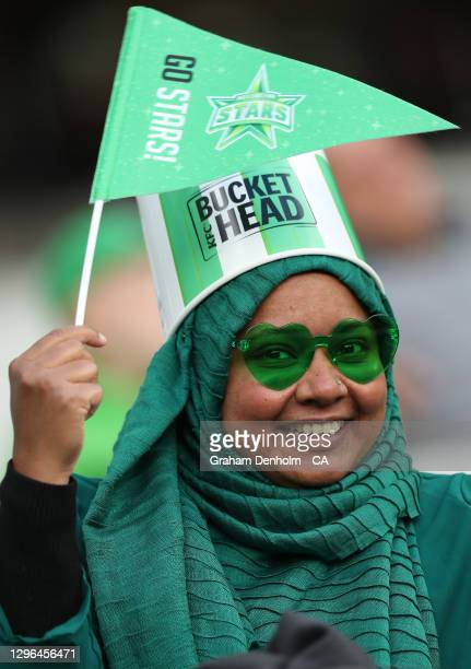 Melbourne Stars fan shows her support during the Big Bash League match between the Melbourne Stars and the Adelaide Strikers at Melbourne Cricket...