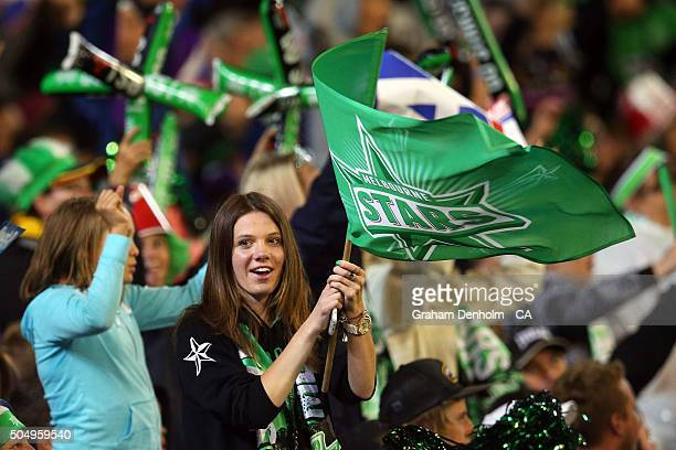 Melbourne Stars fan shows her support during the Big Bash League match between the Melbourne Stars and the Brisbane Heat at Melbourne Cricket Ground...