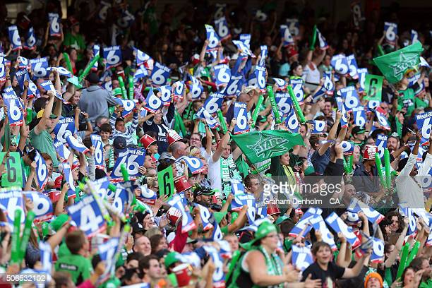 Melbourne Stars fans celebrate during the Big Bash League final match between Melbourne Stars and the Sydney Thunder at Melbourne Cricket Ground on...