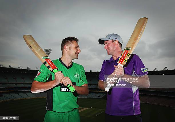 Melbourne Stars Luke Wright and Hobart Hurricanes Ben Dunk pose after taking part in a 'big bash' hitting competition during the Big Bash League Semi...
