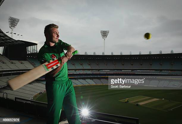 Melbourne Stars Luke Wright and Hobart Hurricanes Ben Dunk take part in a 'big bash' hitting competition during the Big Bash League Semi Final media...