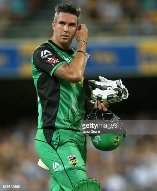 Melbourne Stars player Kevin Pietersen leaves after getting out during the Big Bash League match between the Brisbane Heat and the Melbourne Stars at...