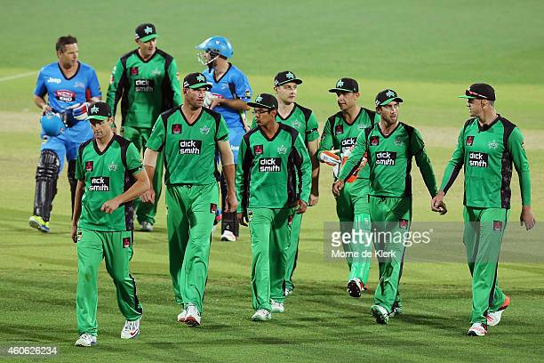 Melbourne Stars players leave the field after losing the Big Bash League match between the Adelaide Strikers and Melbourne Stars at Adelaide Oval on...