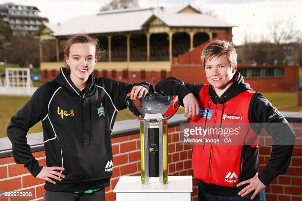 Melbourne Stars WBBL player Makinley Blows poses with Melbourne Renegades WBBL player Jess Duffin during the Women's Big Bash League schedule...