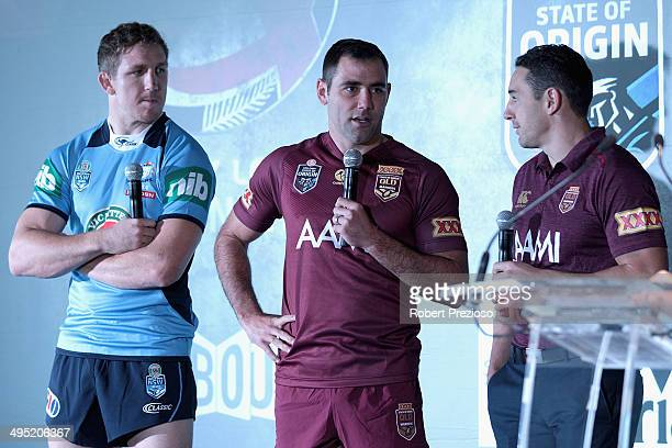 Melbourne Storm captain Cameron Smith along with teammates Ryan Hoffman and Billy Slater speak to the media during a NRL and Victoria Government...