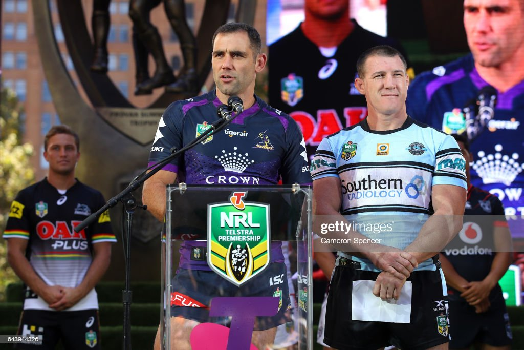 Melbourne Storm captain Cameron Smith talks during the 2017 NRL Season Launch at Martin Place on February 23, 2017 in Sydney, Australia.