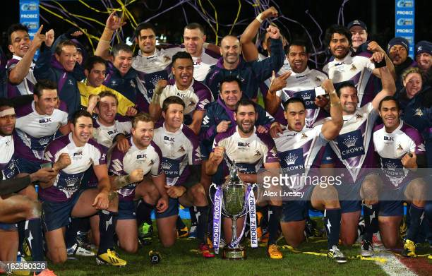 Melbourne Storm celebrate after winning the World Club Challenge match between Leeds Rhinos and Melbourne Storm at Headingley Carnegie Stadium on...