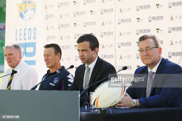 Melbourne Storm CEO Dave Donaghy speaks to media during a Melbourne Storm NRL media announcement at AAMI Park on November 14 2017 in Melbourne...