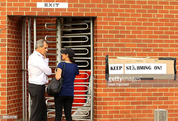Melbourne Storm Chairman Dr Rob Moodie arrives at the Storm headquarters at Princess Park only to find the main gates locked on April 23, 2010 in...