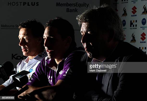 Melbourne Storm coach Craig Bellamy Billy Slater and Club CEO Brian Waldron address the media during a Melbourne Storm press conference to announce...