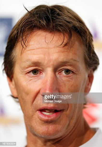 Melbourne Storm coach Craig Bellamy speaks to the media during an NRL press conference at AAMI Park on April 24 2013 in Melbourne Australia