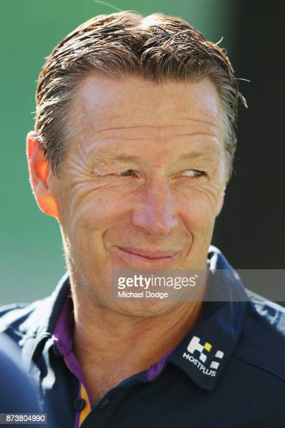 Melbourne Storm head coach Coach Craig Bellamy speaks to media during a Melbourne Storm NRL media announcement at AAMI Park on November 14 2017 in...