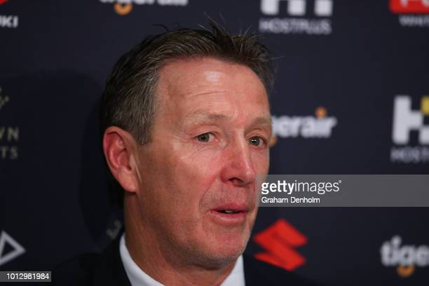 Melbourne Storm Head Coach Craig Bellamy speaks to the media during a Melbourne Storm NRL media opportunity at AAMI Park on August 8 2018 in...