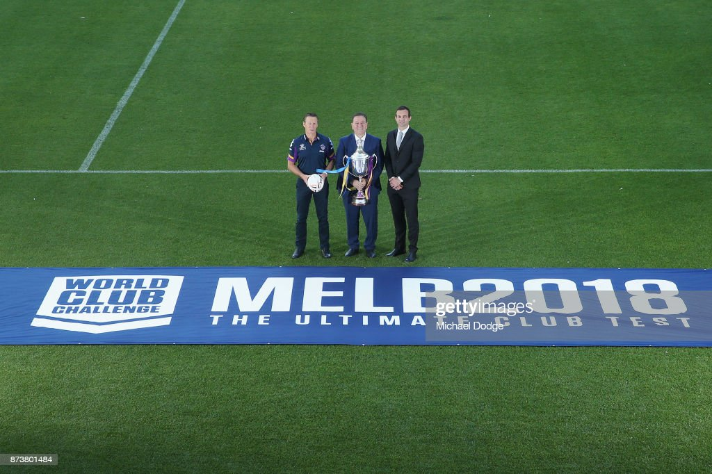 Melbourne Storm Head Coach Craig Bellamy (L)Sports Minister John Eren MP and Storm CEO Dave Donaghy pose with the World Club Challenge Trophy during a Melbourne Storm NRL media announcement at AAMI Park on November 14, 2017 in Melbourne, Australia. NRL Premiers Melbourne Storm will host English Super League Premiers Leeds Rhinos in the World Club Challenge to determine the world's best rugby league team.