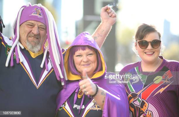 Richmond fans walk to the MCG on September 21 2018 in Melbourne Australia Over 100000 fans are expected in Melbourne's sporting precinct as the city...
