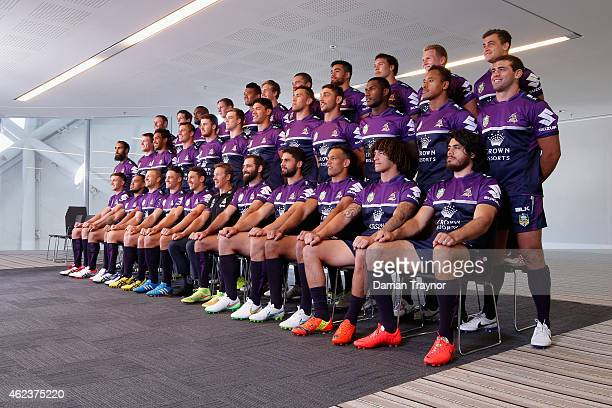 Melbourne Storm players pose for the team photo during a Melbourne Storm NRL media opportunity at AAMI Park on January 28 2015 in Melbourne Australia
