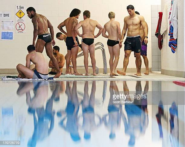 Melbourne Storm players take part in a Melbourne Storm NRL recovery session at AAMI Park on June 17 2013 in Melbourne Australia