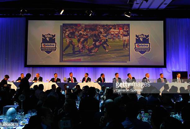Melbourne Storm players watch this season's footage on big screens during the 2008 NRL Grand Final breakfast at the Westin hotel on October 2 2008 in...