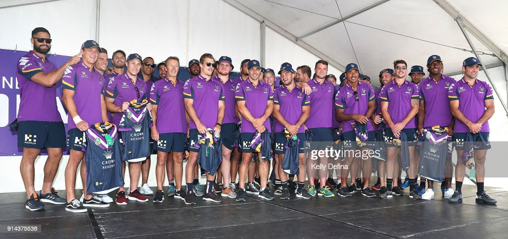 Melbourne Storm team on stage during the Melbourne Storm Family Day on February 3, 2018 in Melbourne, Australia.
