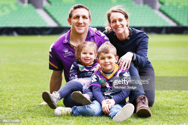 Melbourne Storm veteran Ryan Hoffman poses with wife Melissa and his children Mia and Zach during a press conference to announcement his retirement...