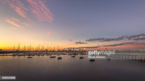 melbourne sunset at st.kilda - south australia stock pictures, royalty-free photos & images