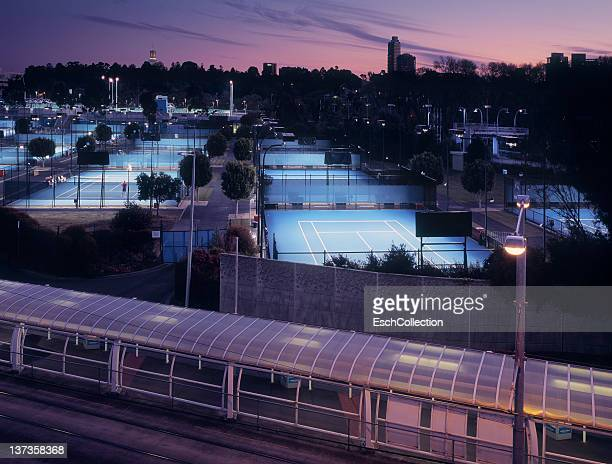 Melbourne sunset with nicely lit tennis courts