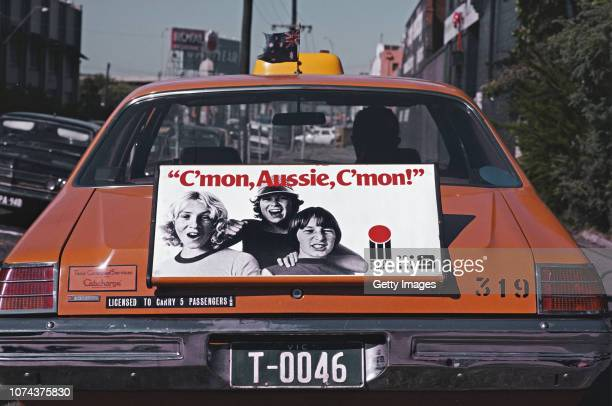 Melbourne Taxi carries an advert 'C'mon Aussie C'mon for the upcoming World Series of Cricket in Australia on January 20 1979