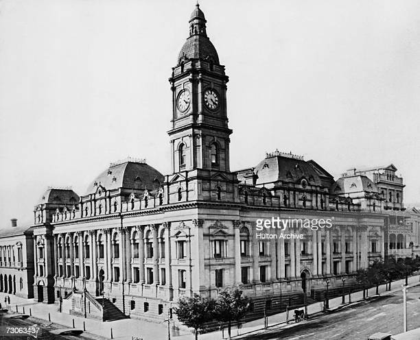 Melbourne Town Hall on the corner of Swanston and Collins Streets Melbourne Australia circa 1880 The building was designed by architect Joseph Reed...